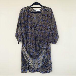 • Thakoon • Draped Print Silk Mini Dress 12 Black